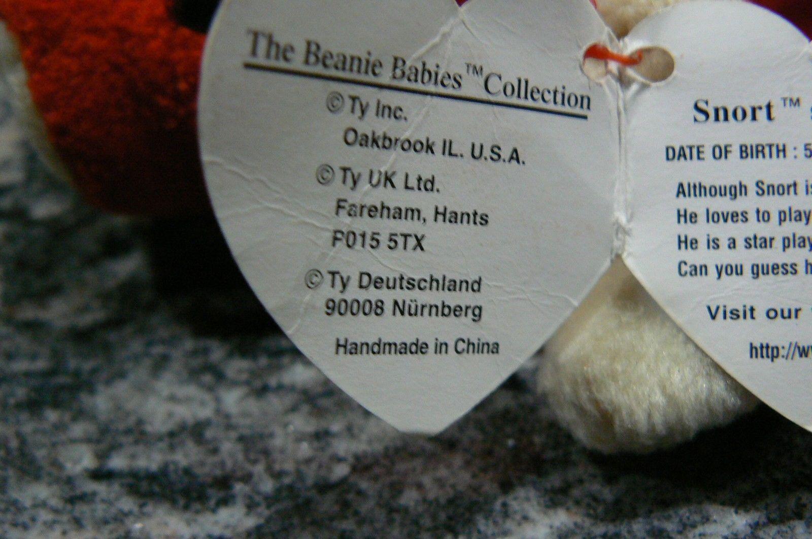 "Vintage Ty Beanie Babies Snort "" The Bull "" Hang Tag/Tush Tag 1995 PVC Pellets image 7"