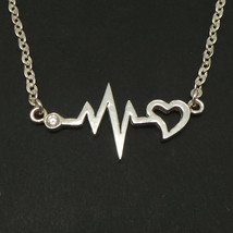 825 Handmade Sterling Silver Heartbeat Nurse Necklace Choker - $42.00