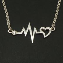 825 Handmade Sterling Silver Heartbeat Nurse Necklace Choker - $42.00