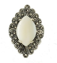 Vintage Sterling Marcasite Marquise Mother Of Pearl Mop Shell IMPRESSIVE... - $89.99