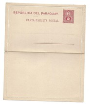 Paraguay South America 2c postal Stationery Letter Card 1887 Unused Folded - $4.99
