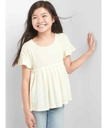 Gap Kids Girls T-shirt Top 12 Ivory Cream Pleated Short Sleeve Ruffle Yo... - $16.78