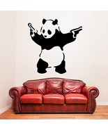 ( 20'' x 19'') Banksy Vinyl Wall Decal Panda with Pistols / Street Graff... - $21.43