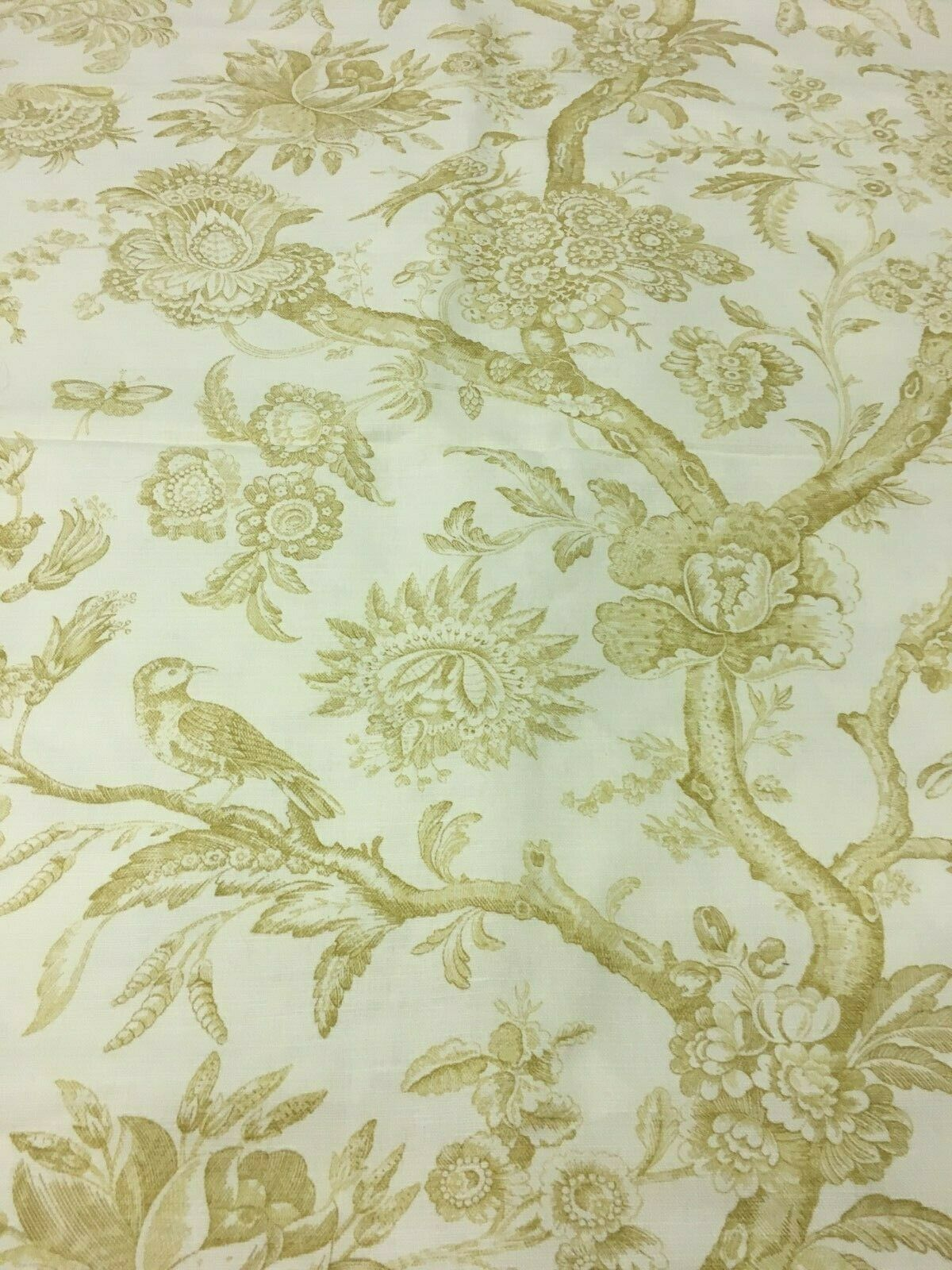 Stroheim & Romann Cream and Sand Toile with Birds Upholstery Drapery Fabric 7 yd