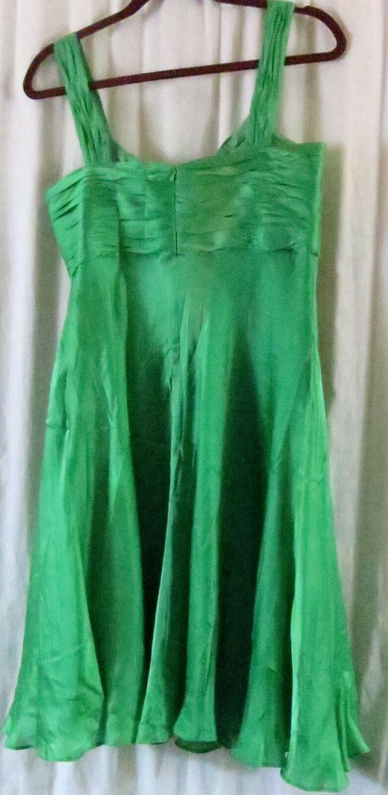 Anne Klein Dress 10 Green Strap V Neck Knee Length Cocktail Party Silk image 6