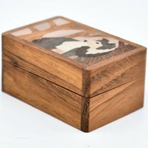 Northwoods Wooden Parquetry Country Rustic Standing Wolf Mini Trinket Box image 3