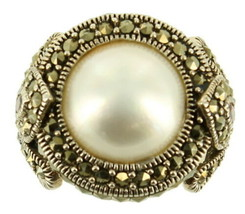 Vintage Sterling Marcasite Mabe Pearl 14mm Marquise Garnets Cocktail Rin... - $179.99