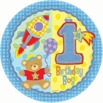 Hugs and Stitches Boy's 1st Birthday Lunch Plates 8ct - $2.72