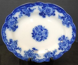 """Antique New Wharf Pottery Flow Blue 10 1/2"""" Oval Platter - Waldorf Pattern - $47.49"""