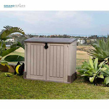 Plastic Storage Shed Outdoor Garden Organizer Patio Deck Box Small Garag... - $200.96