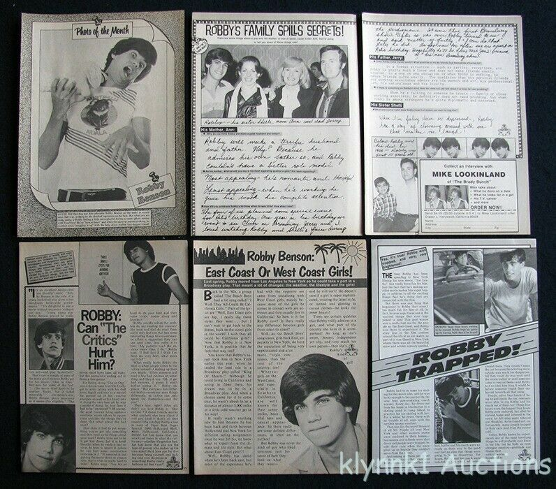 Robby Benson 6 Full page Magazine Clippings 1970s V429