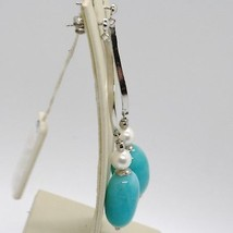 925 STERLING SILVER PENDANT ONDULATE EARRINGS WITH BIG OVAL BLUE QUARTZ & PEARL image 2