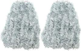 2 Packs Silver Super Duper Thick Tinsel Garland 50 Ft Total Two Strands Each 25  image 4