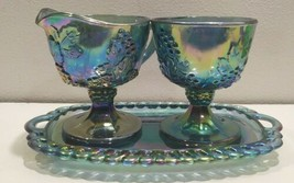 Vintage Indiana Blue Carnival Glass Harvest Grapes, Cream & Sugar w/Tray - $28.02
