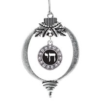 Inspired Silver Life In Hebrew Circle Holiday Christmas Tree Ornament With Cryst - $14.69