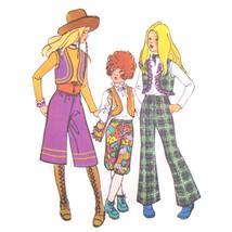 1970s Vtg Simplicity Sewing Pattern 9538 Girls Vest Gaucho Bell Bottom P... - $6.95