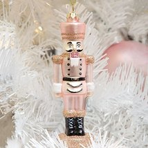 Rose Gold Colored Glass Nutcracker Ornament in gift box by 8 Oak Lane