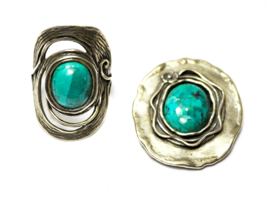Sterling Shablool Didae Turquoise Hammered Modernist Sz 7 Ring & 35mm Pe... - $49.49