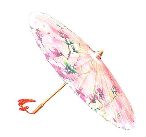 [Pink Peach Blossom] Rainproof Handmade Chinese Oil Paper Umbrella 33 inches