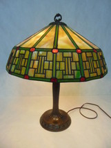 ORIGINAL ANTIQUE MISSION ARTS & CRAFTS STAINED SLAG GLASS LAMP BY HANDEL - $5,000.00