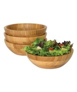 Set of 4 Bowls 8203-4 Bamboo Wood Salad Bowls, Small, 7quot Diameter x 2 - $37.90