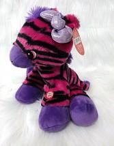 "Fiesta 10"" Zebra Pink Purple Black Girl w Sound Stripes Soft Plush Toy B202 - $18.98"