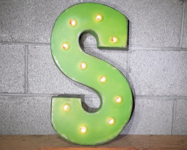 Letter S - SOLAR POWERED Rustic Vintage Metal Alphabet Marquee Light Up ... - $113.85+