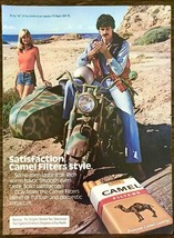 1980 Camel Filter Cigarettes PRINT AD Mustache Guy Motorcycle Side Car Blonde - $10.89