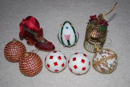 "Vintage Handmade Christmas Ornaments LOT Bird Cage 5"" Shoe 4.5"" Bead Bal... - $24.70"