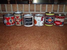Set of 6 Vintage Handmade Needlepoint Covered Tin Cans Southwest Sports ... - $93.49