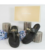 Michael Kors Charlton Black Leather Flats Thong Sandals 6 NIB - $63.86
