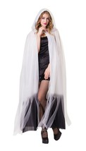 Hooded Cape White Ladies with Black Ombre Finish, Womens Fancy Dress Cos... - $33.18