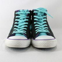 Converse All Star Leather High Top Shoes Mens 9 Womens 11 Black Blue Purple image 3