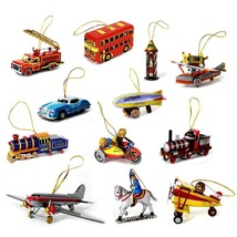 TIN TOY CHRISTMAS TREE ORNAMENT 12 Designs NEW Vintage Style Metal Colle... - $7.88+