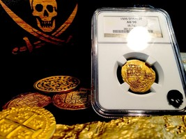 "Spain 2 Escudos ""Rarely Dated 1595!"" Pirate Gold Coins Ngc 50 Treasure Doubloon - $2,695.00"