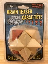 New Brain Teaser 3-D Wooden Puzzle, 1 Puzzle - $13.50