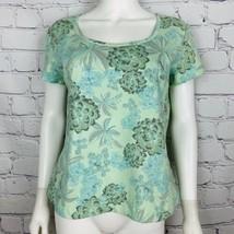 St John Sport Women's Casual Blouse M Green Floral Short Sleeve Cotton Blend - $31.79