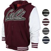 Men's Athletic California Graphic Sherpa Fleece Lined Cali Zip Up Hoodie Jacket