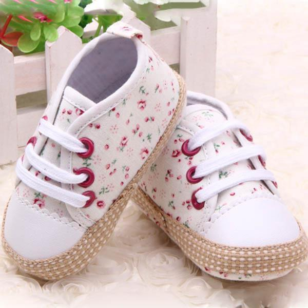 0-12 Month Toddler Baby Girl Floral Print Soft Sole Shoes Sneakers