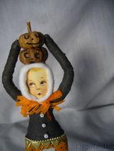 Vintage Inspired Spun Cotton Scared Boy with Pumpkins Halloween no. HW15 image 3