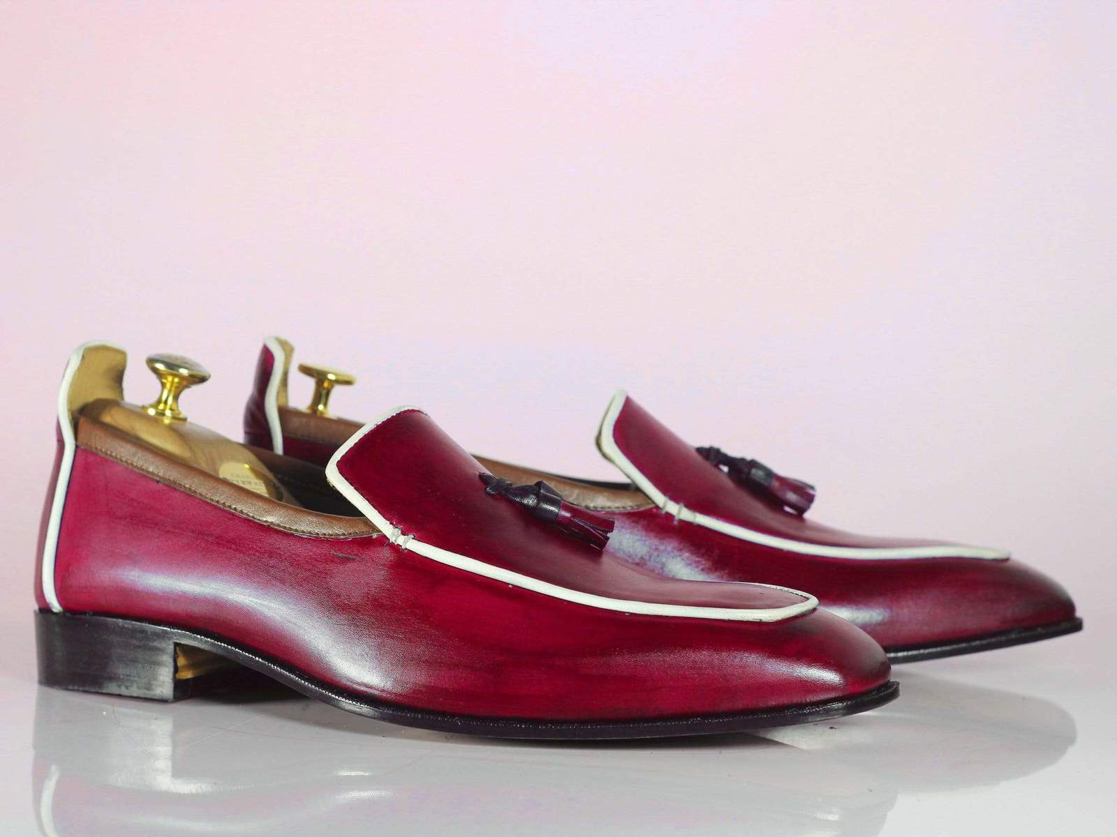 Primary image for Bespoke Pink Tussle Leather Loafers for Men's