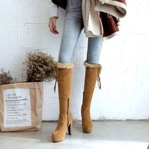 85B045 ecute knee high boot whair trim, nubuck leather Size 3-10.5, yellow - $68.80