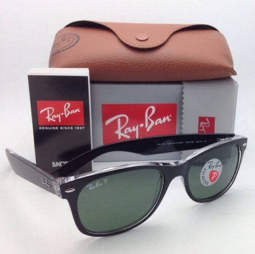 314c41bb25d 12. 12. Previous. POLARIZED RAY-BAN Sunglasses RB 2132 6052 58 NEW WAYFARER  Black on Clear w · POLARIZED ...