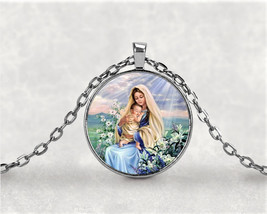 Virgin Mary and Baby Jesus with Lilies / Mother and Child Necklace Penda... - $7.95
