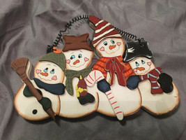 "Wood Wall Decor 4 Christmas Snowmen  8"" W X  5"" H - $6.65"