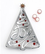 Lenox Holiday Gifts JOY Metal Silver Christmas Tree Tray - NEW - $379,59 MXN