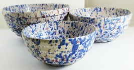 Vintage Spatterware Stoneware Nesting Mixing Bowls Set of 3 Blue Purple - $99.00