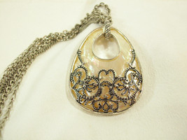 Monet Filigree over Mother Pearl Silver Plate Pendant Medallion Necklace... - $16.78