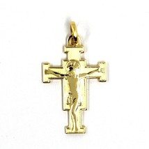 "SOLID 18K YELLOW GOLD FLAT SAINT DAMIANO CROSS PENDANT, MADE IN ITALY, 0.9"" image 2"