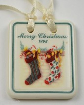 Longaberger Pottery Merry Christmas 1998 Tie-On Collectible Accesssory P... - $11.99